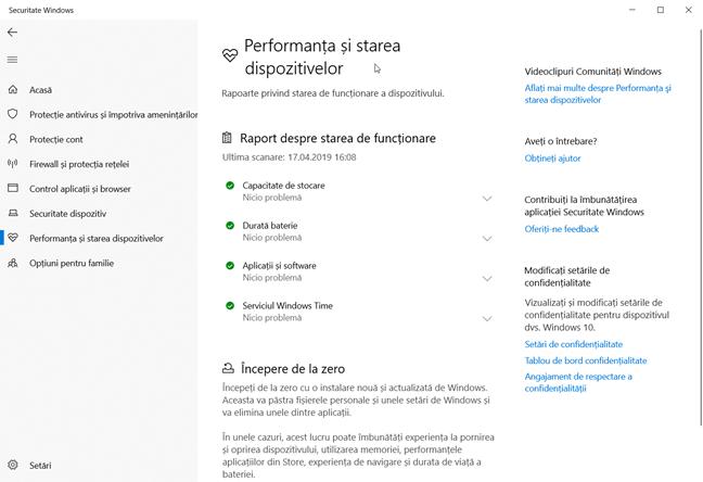 Un raport pentru Windows 10 în care totul merge bine