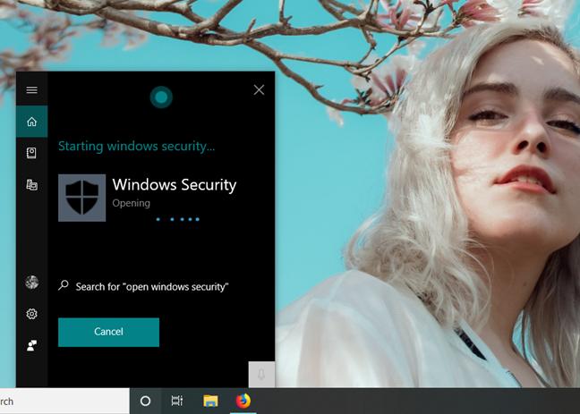 Cum îi ceri Cortanei să deschidă Windows Security