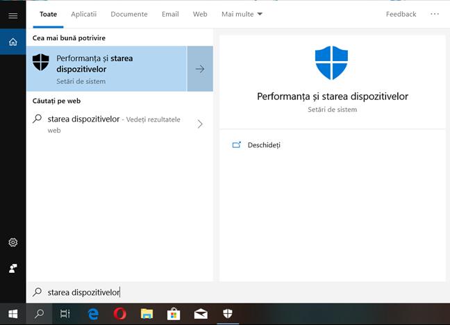 Caută starea dispozitivelor în Windows 10