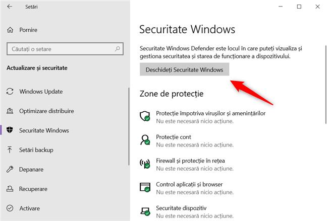 Deschiderea aplicației Securitate Windows din aplicația Setări Windows 10