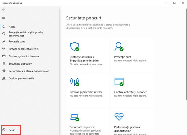 Securitate Windows - apasă pe Setări