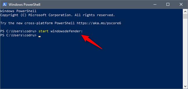 Deschiderea aplicației Securitate Windows din PowerShell