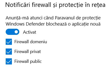Securitate Windows - notificări firewall și protecție în rețea