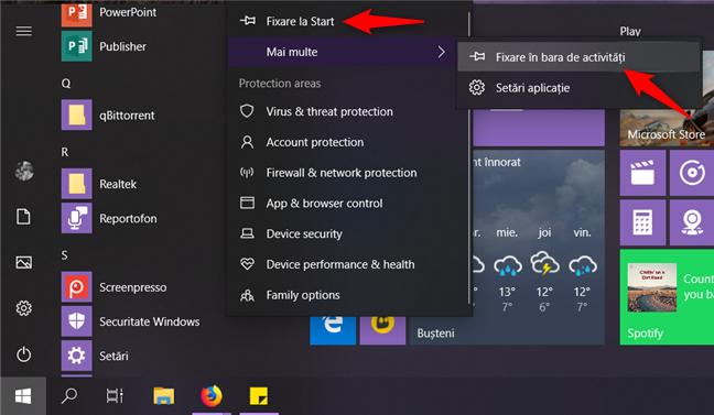Fixarea aplicației Securitate Windows la Start sau pe bara de activități