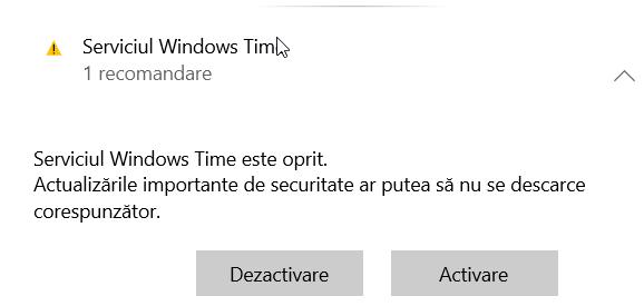 Serviciul Windows Time este oprit în Windows 10