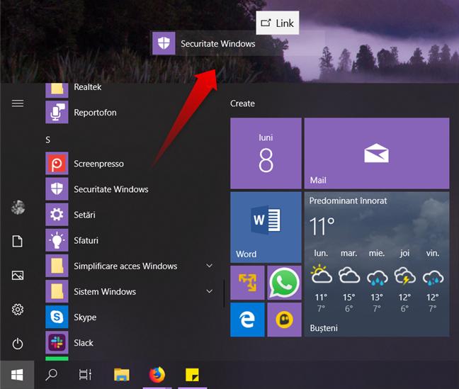 Crearea unei scurtături către Securitate Windows, pe desktop