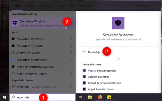 Căutarea aplicației Securitate Windows din Windows 10