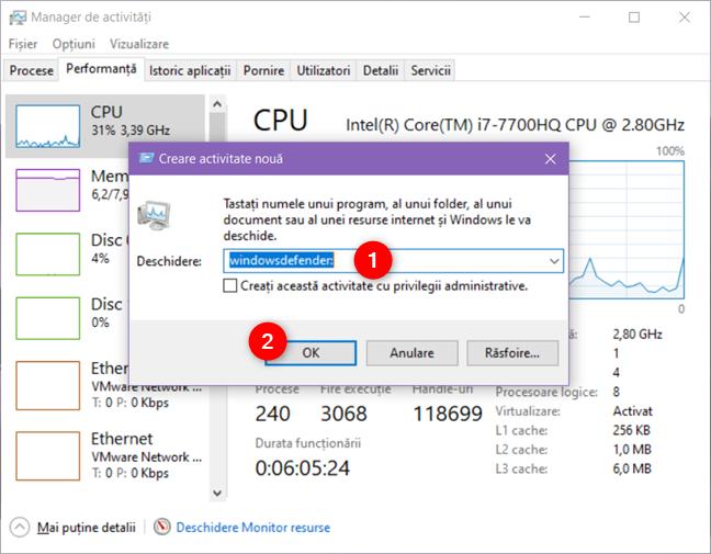 Deschiderea aplicației Securitate Windows din Managerul de activități