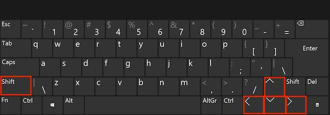 Folosește Shift și tastele săgeți pentru a selecta fișiere adiacente