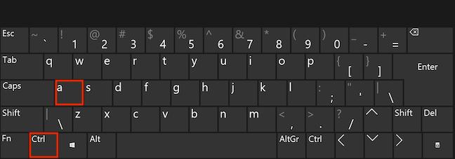Apasă Ctrl și A simultan pe tastatură