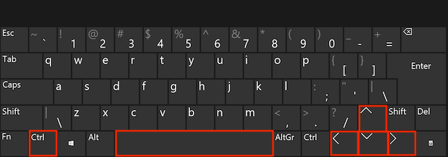 Ctrl, Spacebar și tastele săgeți sunt folosite pentru a selecta elemente depărtate