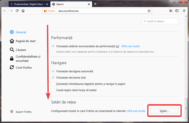 Deschide Setări de rețea în Mozilla Firefox