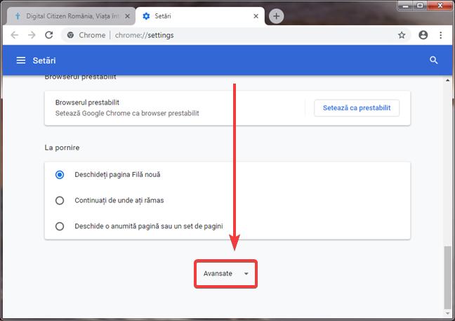 Deschide setări avansate în Google Chrome