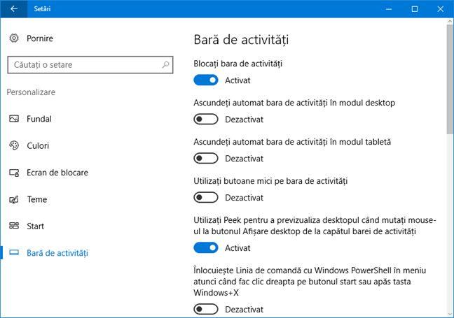 Windows 10, Setari, aplicatie, noutati