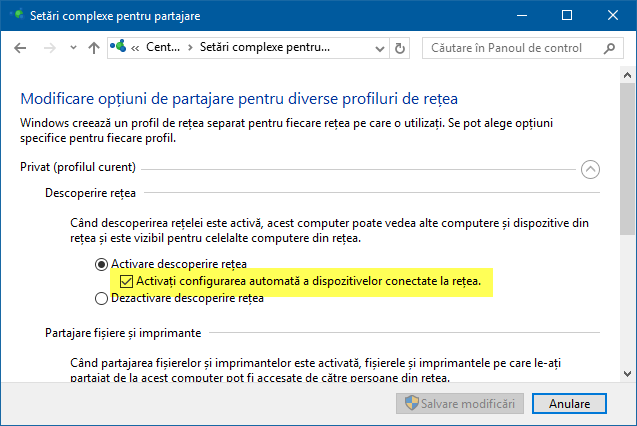 Setari complexe pentru partajare, Windows