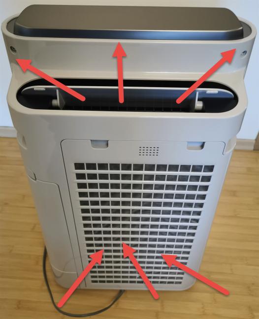 Cum intră și iese aerul în/din Sharp UA-HD60E-L
