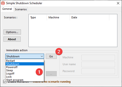 Acțiune imediată în Simple Shutdown Scheduler (Programare simplă de închidere)