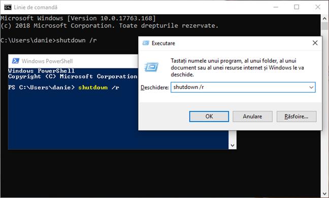 Repornește Windows 10 folosind comanda shutdown