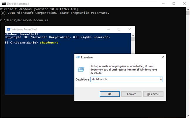 Închide Windows 10 folosind comanda shutdown