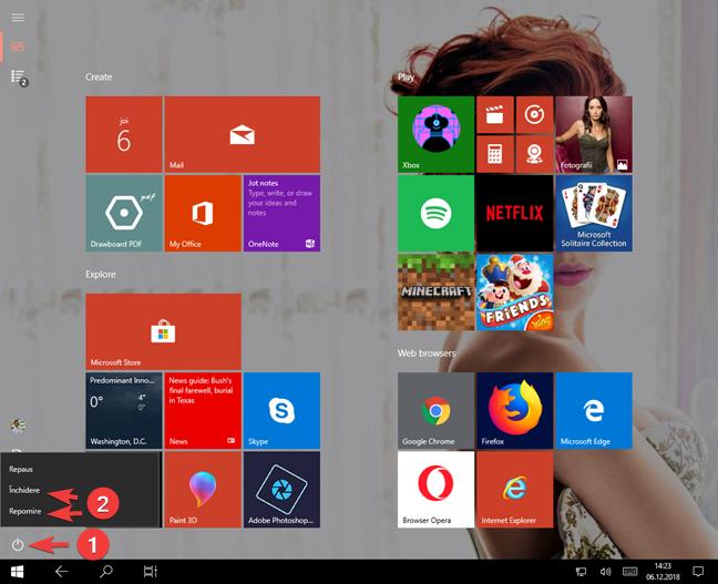 Închide sau repornește Windows 10 din ecranul Start
