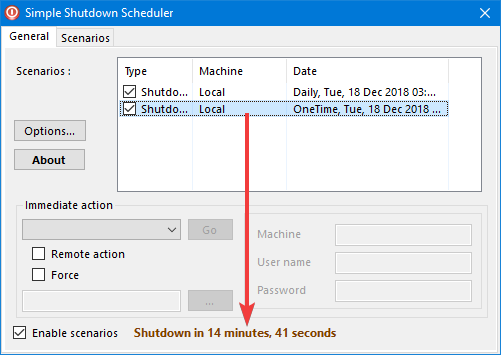 Vezi scenariile active în Simple Shutdown Scheduler