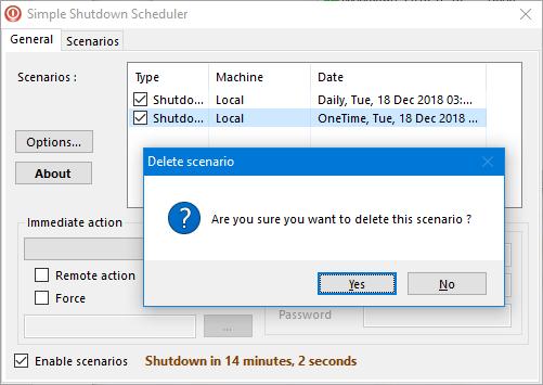Șterge un scenariu în Simple Shutdown Scheduler