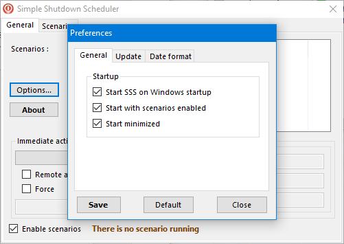 Setează preferințele pentru Simple Shutdown Scheduler