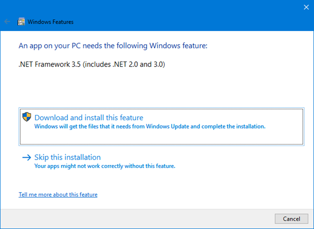 Instalarea Microsoft .NET Framework 3.5