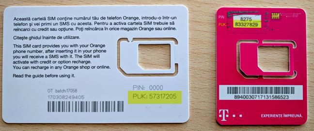 Codurile PIN și PUK ale unor cartele SIM