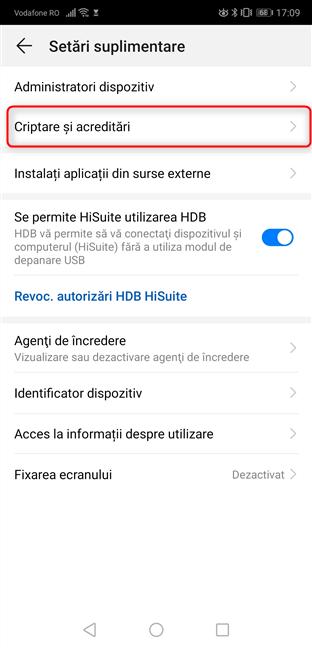 Accesează Criptare și acreditări în Android 9 Pie