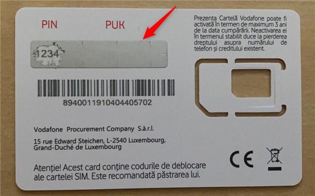 Codul PUK poate fi ascuns sub o zonă răzuibilă