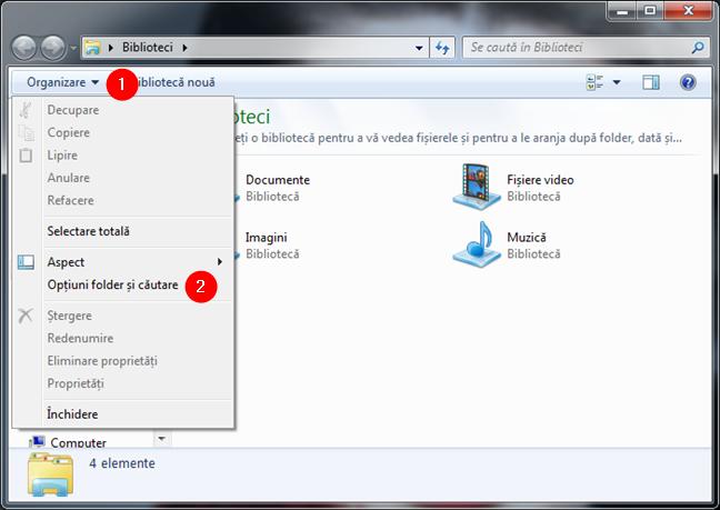 Opțiuni folder și căutare în meniul Organizare din Windows Explorer