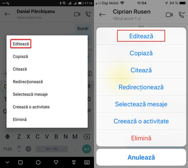 Opțiunea Editează pentru un mesaj trimis în Skype pentru Android și iOS
