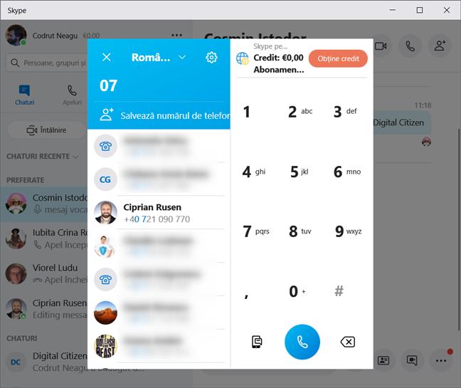 Realizarea unui apel telefonic prin Skype