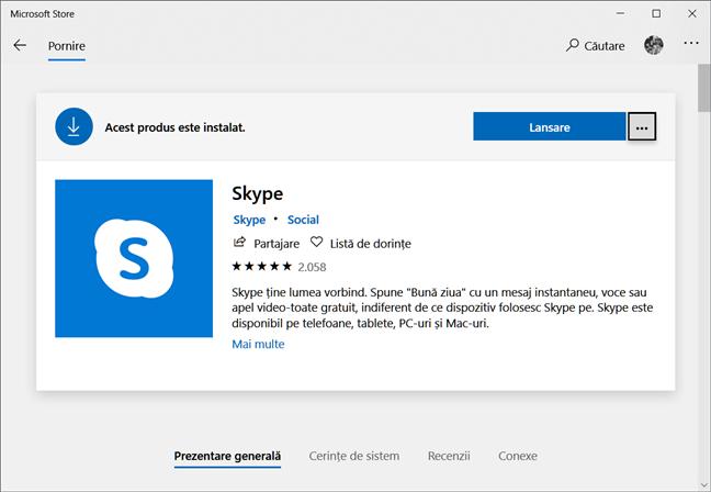 Pagina Skype din Magazinul Microsoft