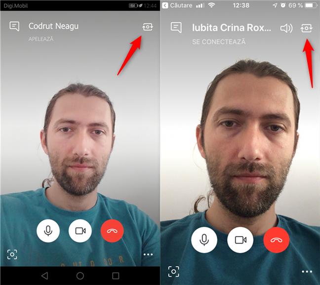 Comutarea camerei utilizate de aplicația Skype pe smartphone