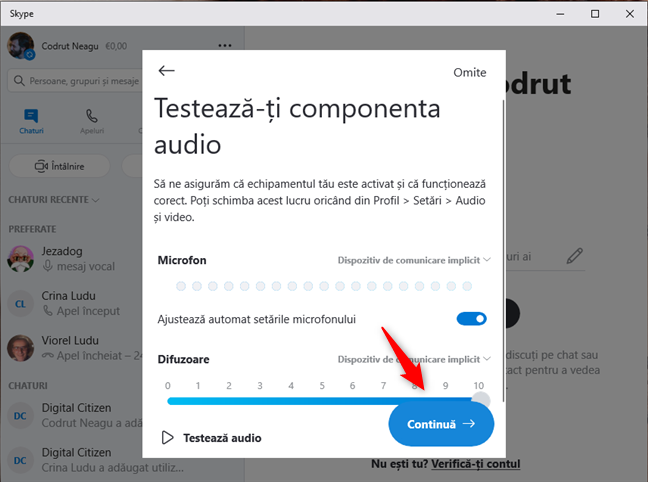 Skype testează dispozitivele audio