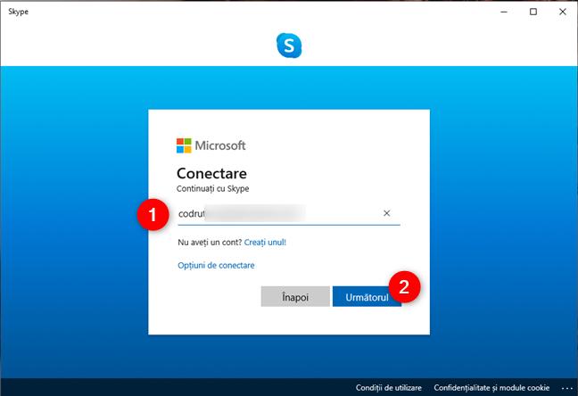 Conectarea la Skype cu un cont Microsoft