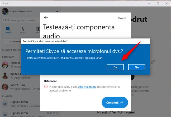 Permiteți Skype să acceseze microfonul dvs.