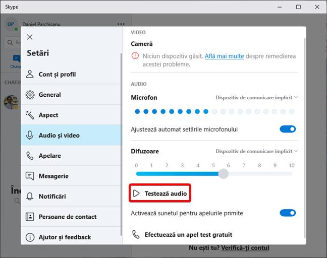 Testează difuzoarele în Skype