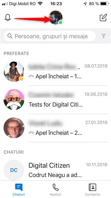 Apasă pe poza ta în Skype pentru iOS