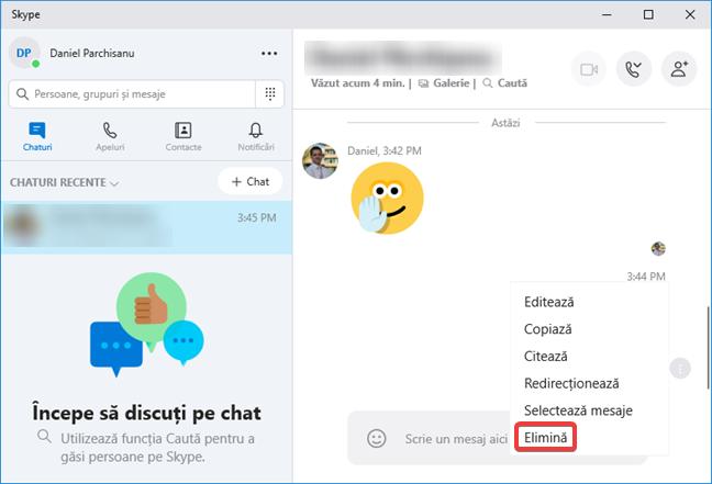 Opțiunea Elimină în meniul Mai multe opțiuni din Skype pentru Windows