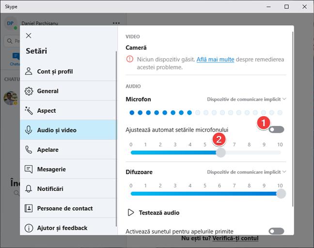 Setează manual nivelul de volum al microfonului în Skype