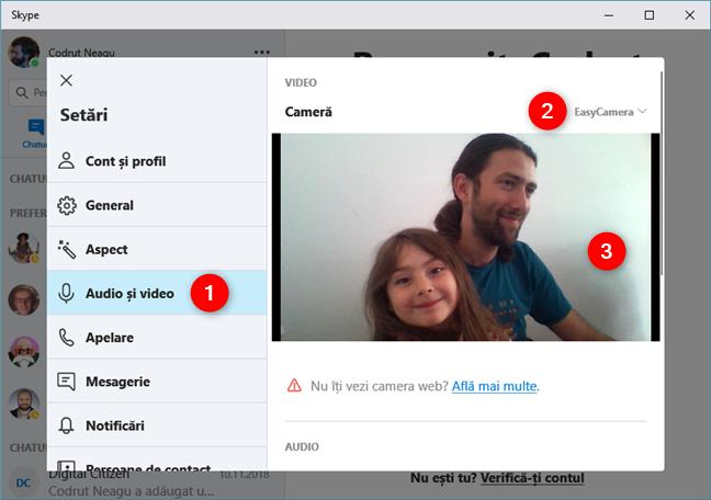 Verificarea fluxului video live de la webcam, în Skype