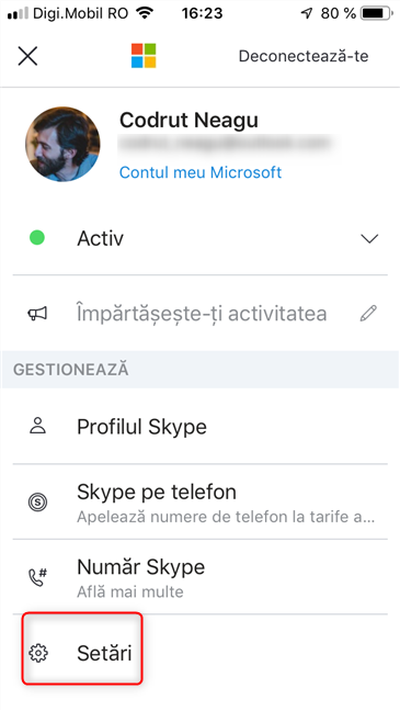 Accesează Setări în Skype pentru iOS