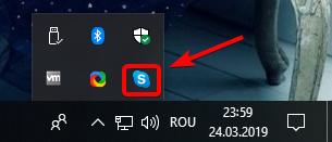Pictograma Skype în sertarul de sistem