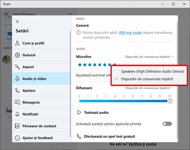 Alegerea dispozitivului pentru difuzoare în Skype
