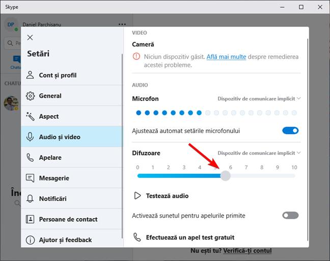 Setează nivelul de volum pentru difuzoare în Skype