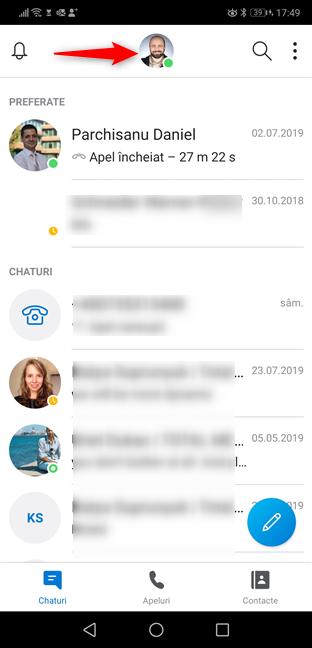 Apasă pe profilul tău Skype pentru Android