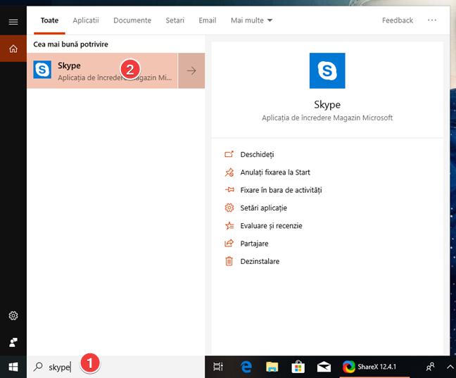Căutarea aplicației Skype în Windows 10